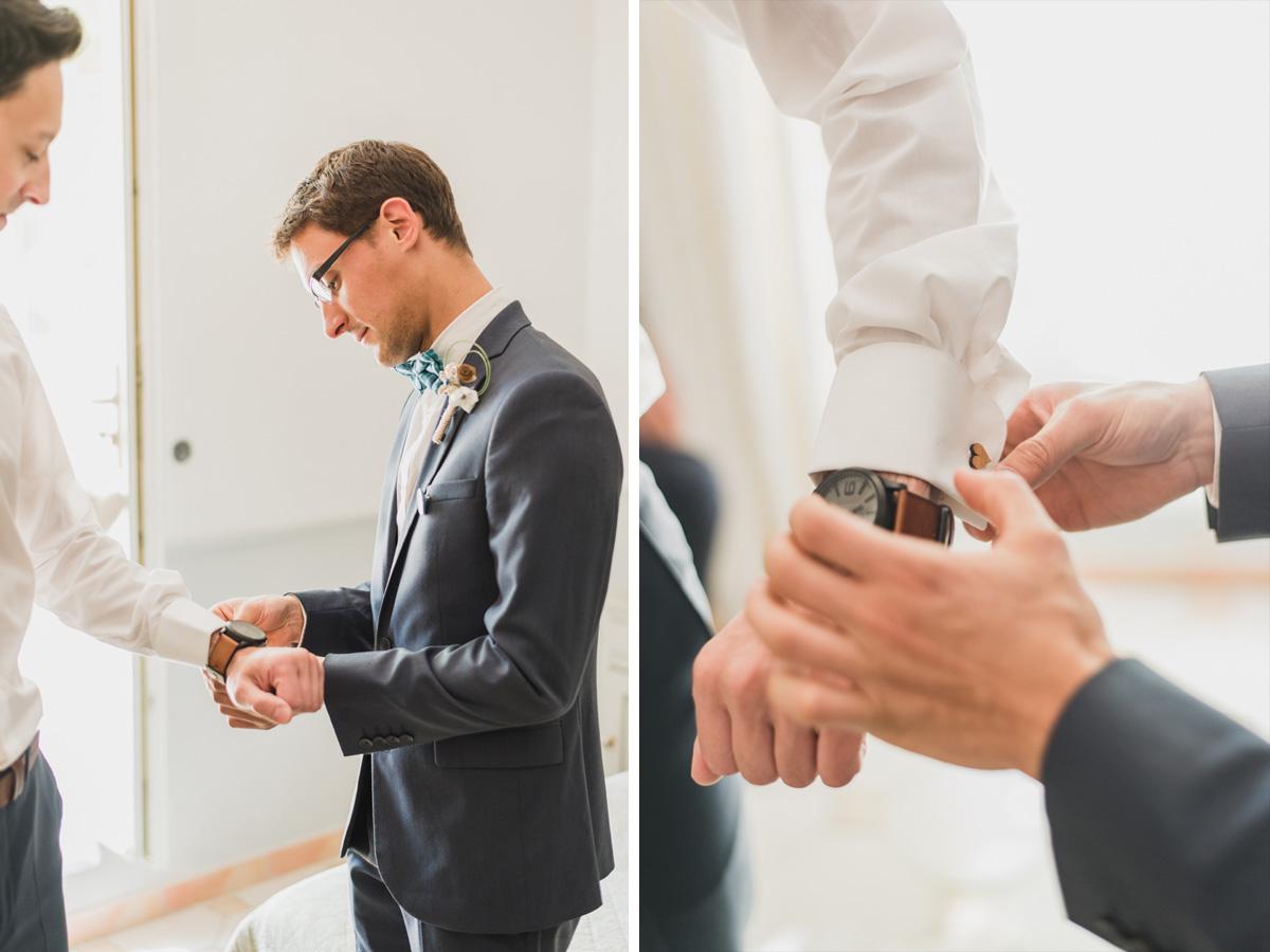 détails boutons manchette kristian photos photographe mariage provence